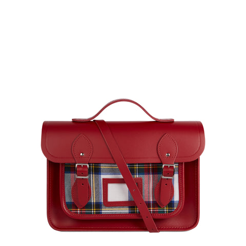 13 Inch Batchel with Magnetic Closure - Red & Red Watch Tartan