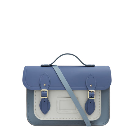 13 Inch Batchel with Magnetic Closure - Italian Blue Matte, French Grey & Clay | Cambridge Satchel