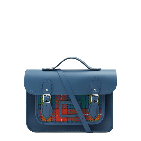 13 Inch Batchel With Magnetic Closure   Peacock With Strome Buchanan Tartan by Cambridge Satchel