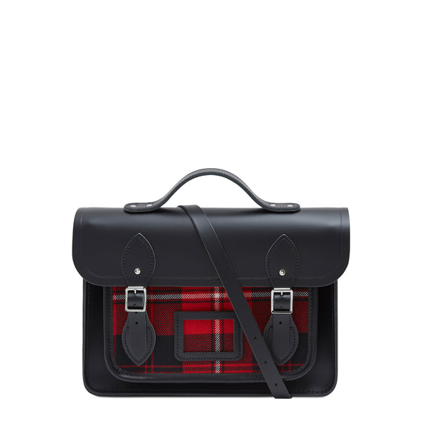 13 Inch Batchel With Magnetic Closure   Black With Strome Cunningham Tartan by Cambridge Satchel