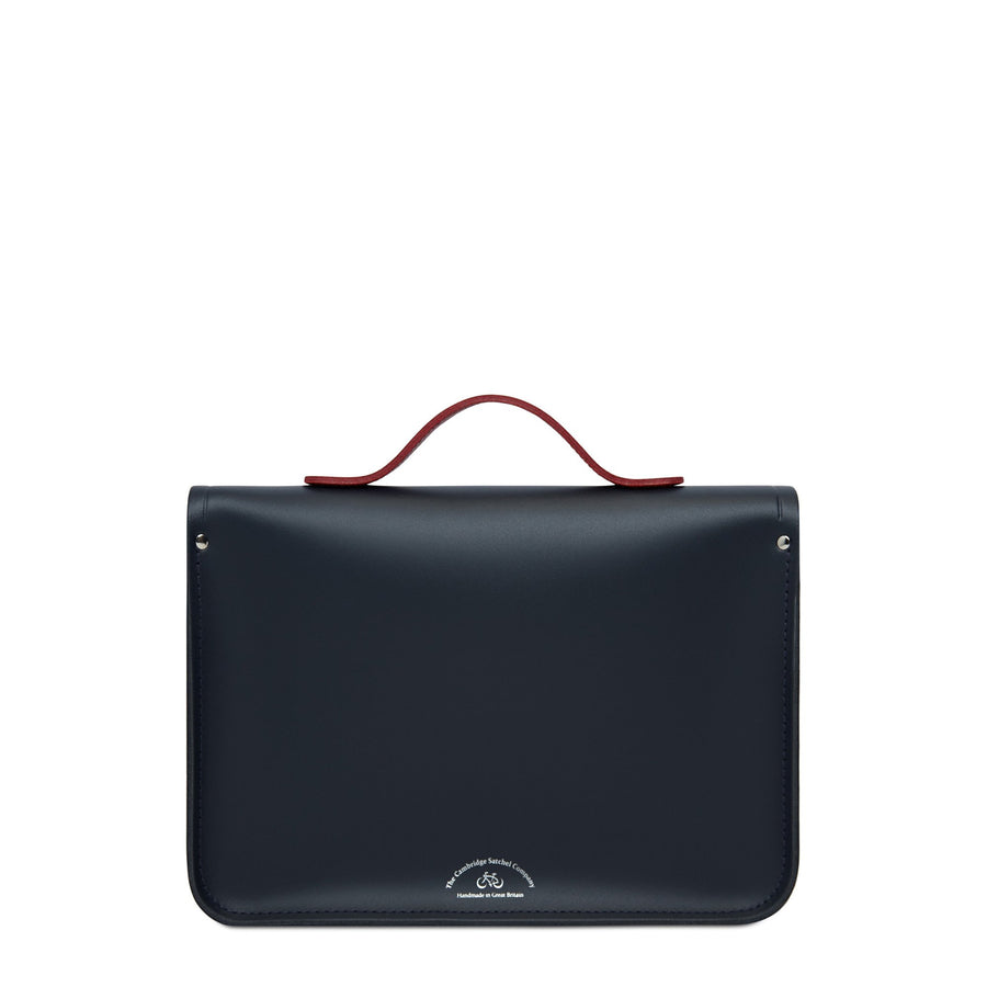 13 Inch Batchel with Magnetic Closure - Navy & Red