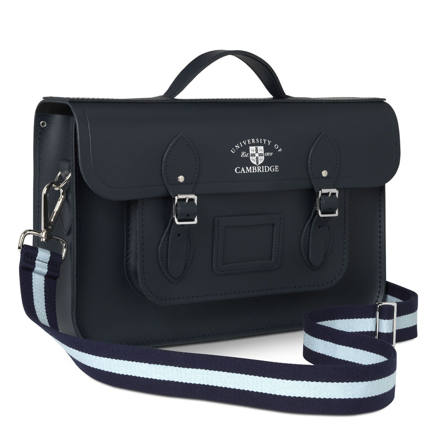 15 Inch University of Cambridge Classic Batchel in Leather - Navy & Cambridge Blue