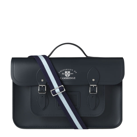 15 inch University of Cambridge Batchel in Leather - Navy & Cambridge Blue