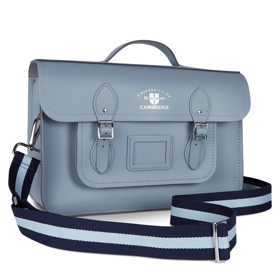 15 Inch University of Cambridge Classic Batchel in Leather - French Grey - Cambridge Satchel