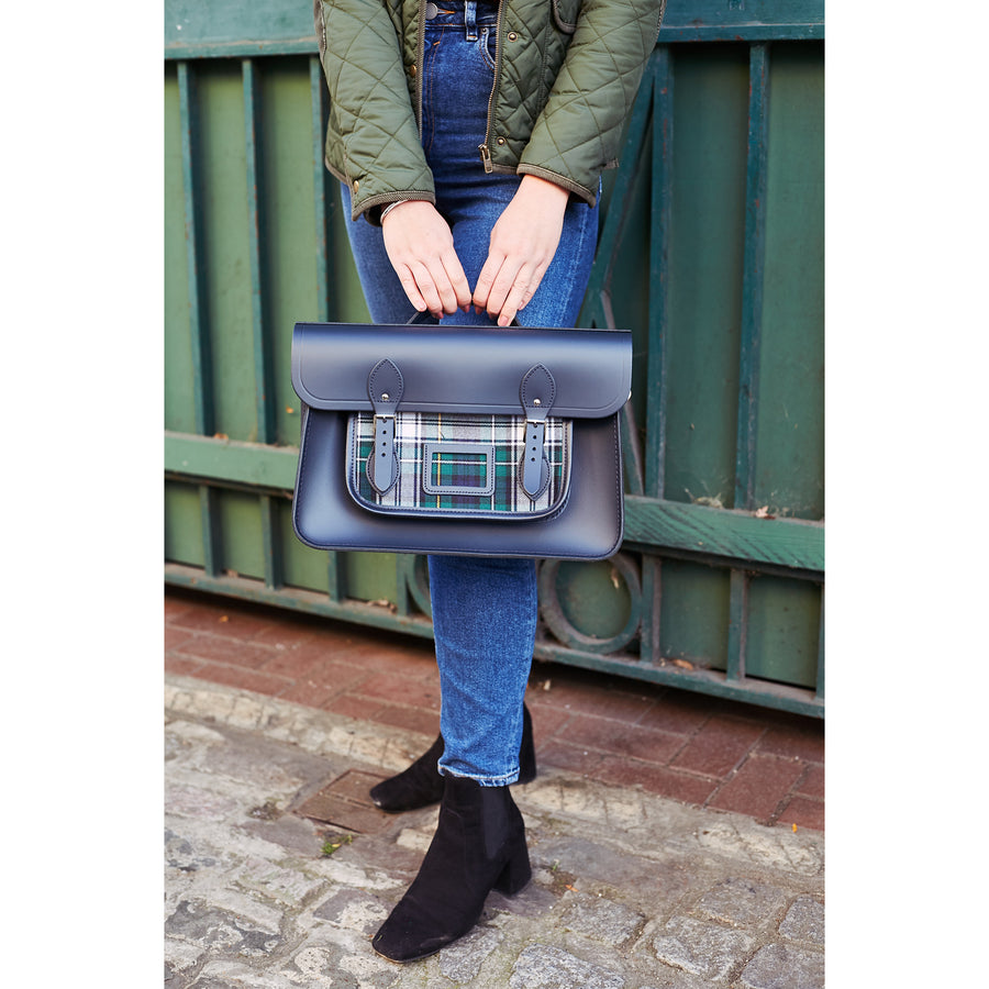 Womens- 15 Inch Classic Batchel in Leather - Navy with Green Tartan