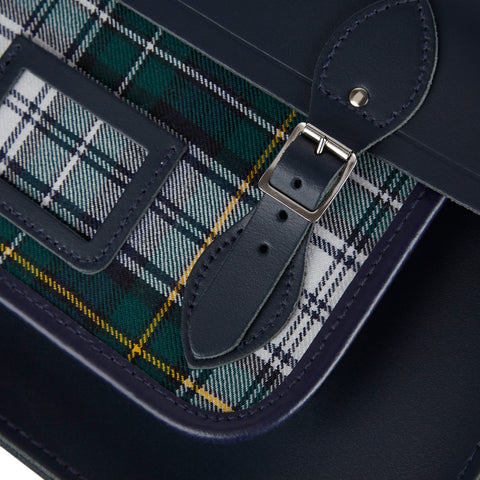 15 Inch Classic Batchel in Leather - Navy with Green Tartan - Cambridge Satchel