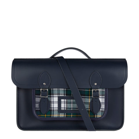 15 Inch Classic Batchel in Leather - Navy with Green Tartan