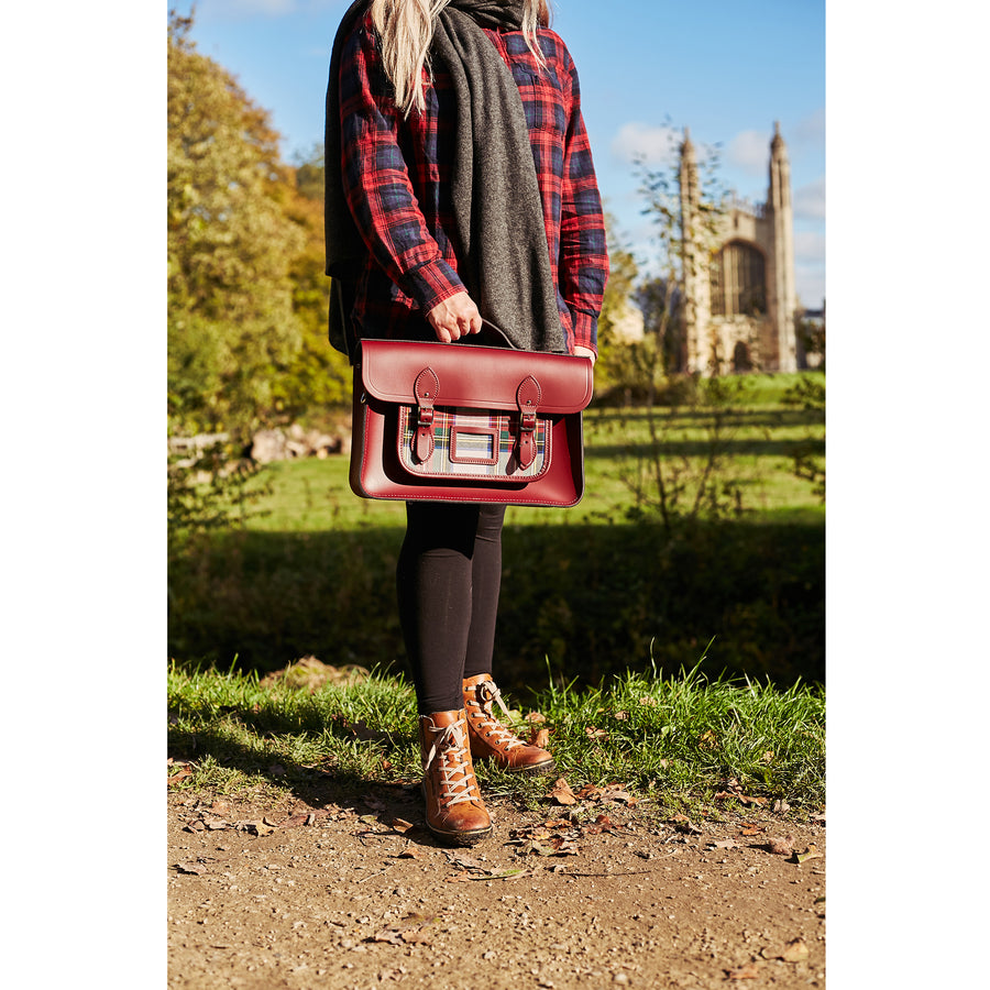 Womens- 15 Inch Classic Batchel in Leather - Oxblood with Red Tartan - Cambridge Satchel