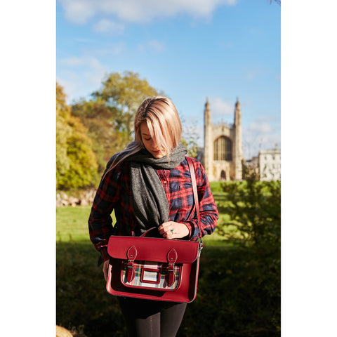 Womens- 15 Inch Classic Batchel in Leather - Oxblood with Red Tartan - Cambridge SatchelWomens- 15 Inch Classic Batchel in Leather - Oxblood with Red Tartan - Cambridge Satchel