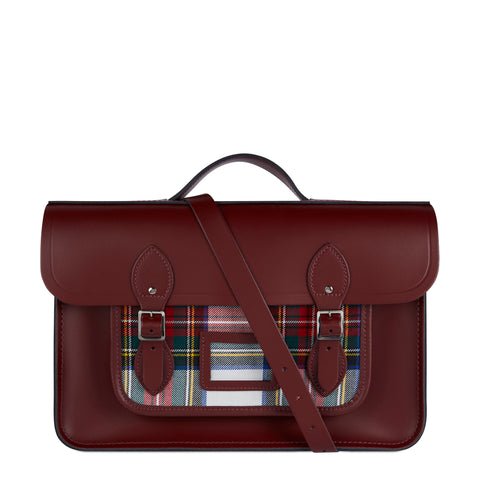 15 Inch Classic Batchel in Leather - Oxblood with Red Tartan - Cambridge Satchel