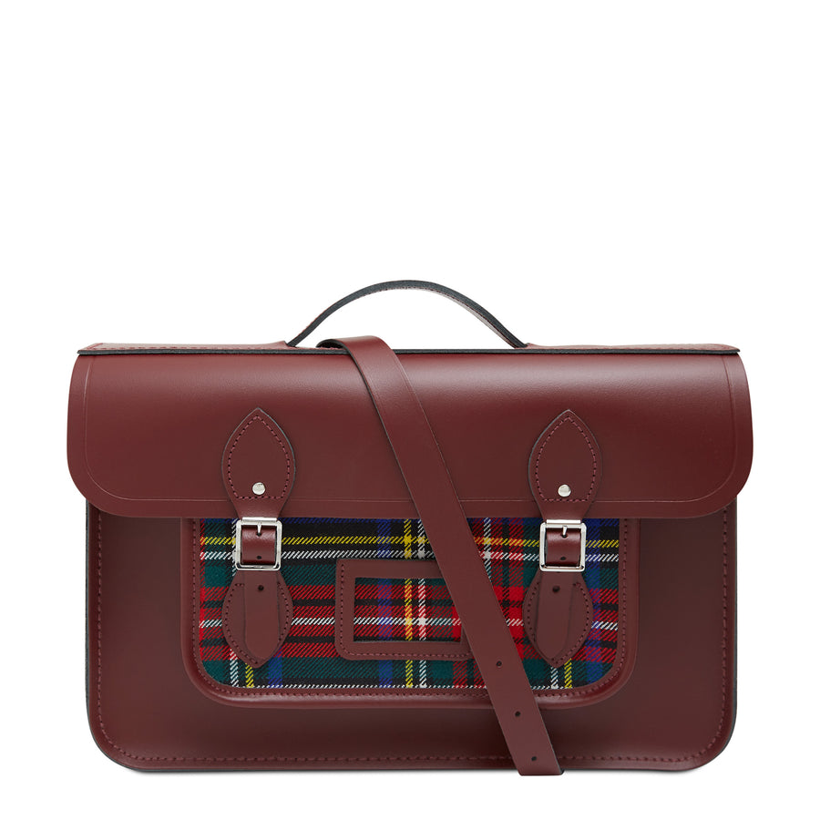 15 Inch Classic Batchel in Leather - Oxblood & Strome Stewart Black Tartan | Cambridge Satchel