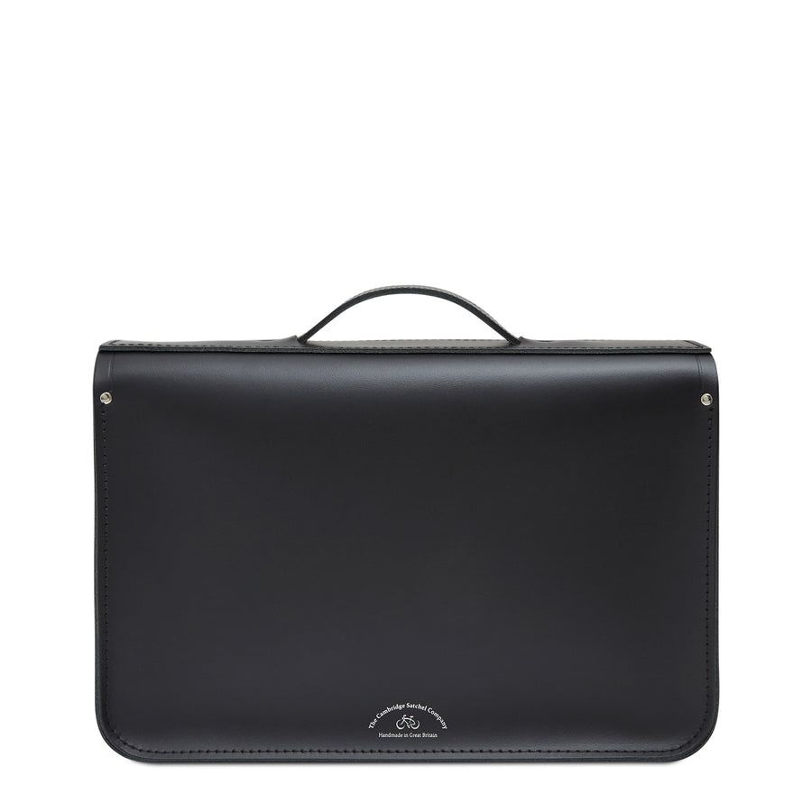 15 Inch Classic Batchel in Leather - Black & Strome Cunningham Tartan | Cambridge Satchel