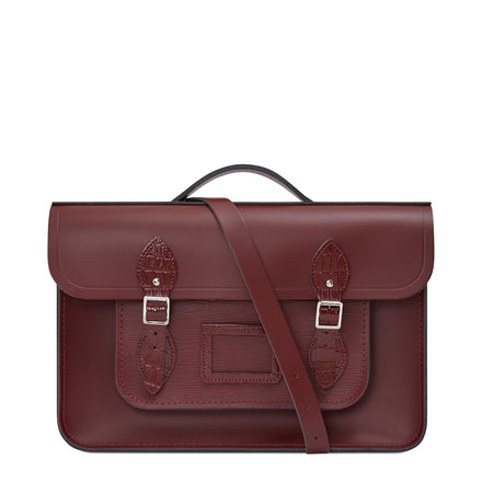 15 Inch Classic Batchel in Leather - Oxblood, Oxblood Stripe Grain & Oxblood Patent Croc