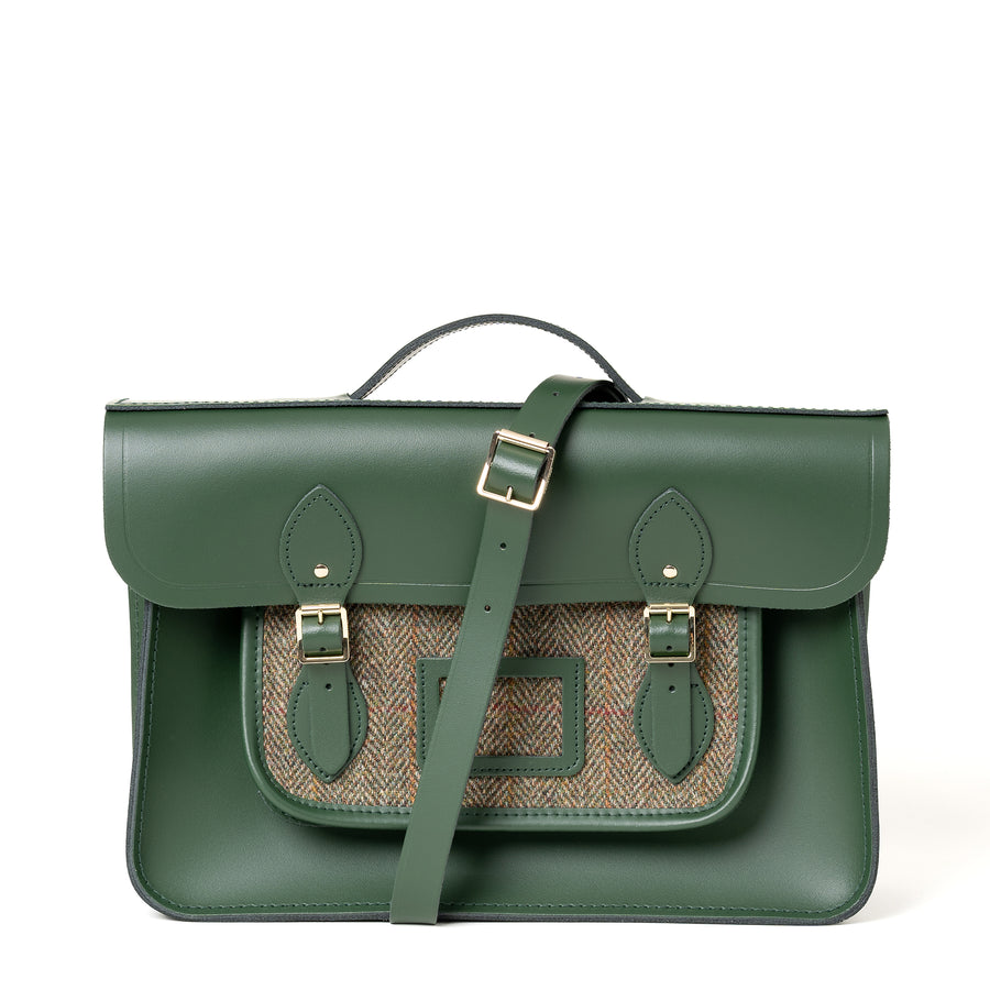 15 Inch Classic Batchel in Leather - Racing Green with Green Tweed