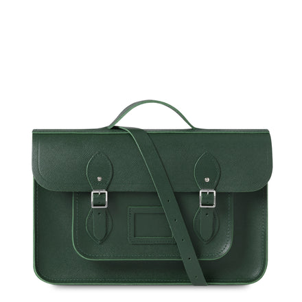 15 Inch Classic Batchel in Leather - Racing Green Saffiano | Cambridge Satchel