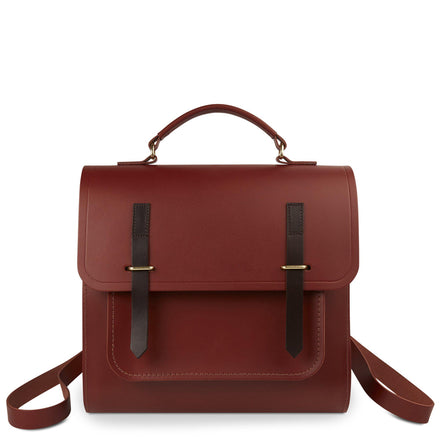 Bridge Closure Backpack in Leather - Brandy and Dark Brown