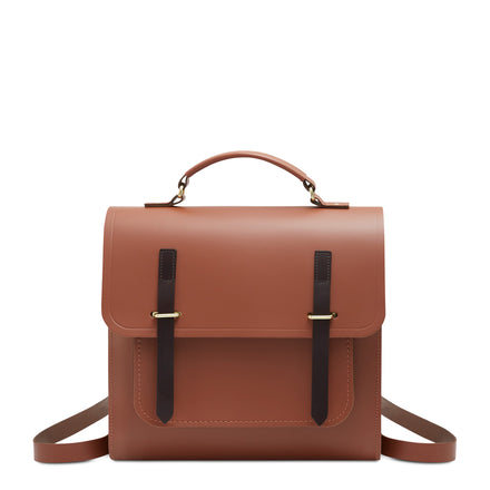 Bridge Closure Backpack in Leather - Bay & Dark Brown