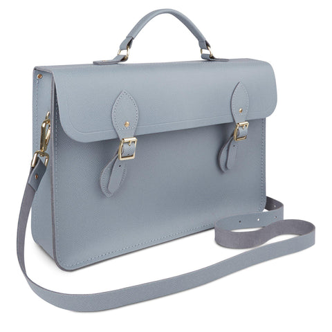 Large Briefcase in Leather - French Grey Saffiano