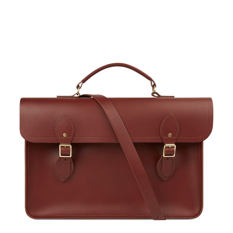 Large Briefcase in Leather - Brandy