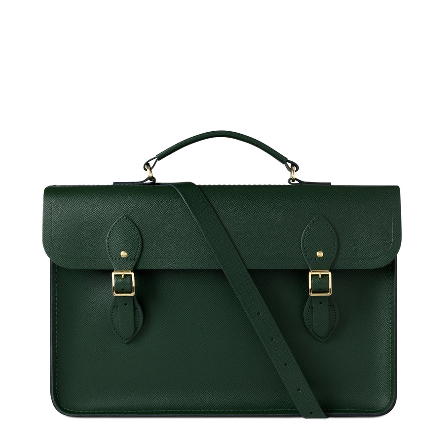 Large Briefcase in Leather - Racing Green Saffiano | Cambridge Satchel
