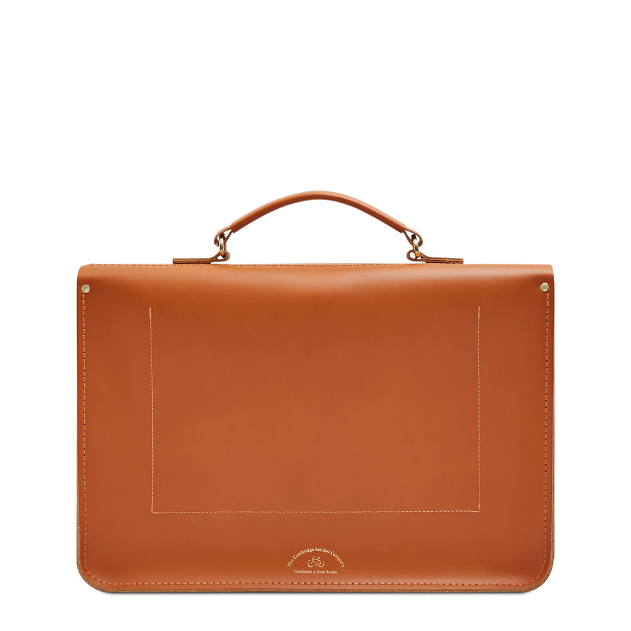 Large Briefcase in Leather - Caramello