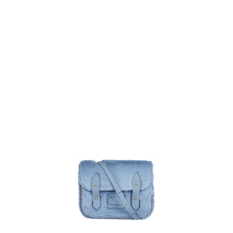Tiny Satchel in Leather - Baby Blue Faux Fur