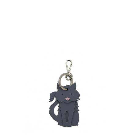 Fluffy Cat Curio in Leather - French Grey Saffiano & Dusky Rose