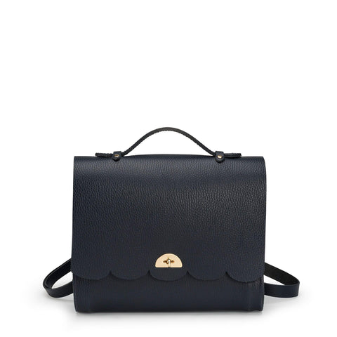 Convertible Cloud Backpack in Grain Leather - Navy Grain