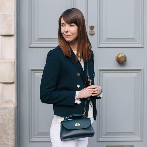 Womens | Mini Daisy Bag in Leather - Navy | Cambridge Satchel