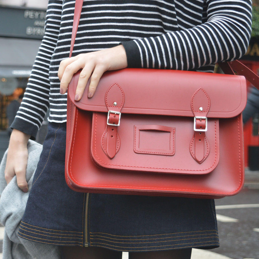 Womens- 14 inch Magnetic Satchel in Leather - Red