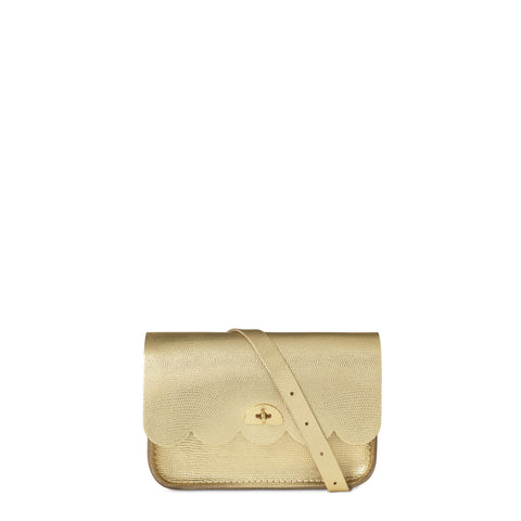 Small Cloud Bag in Leather - Gold Lizard