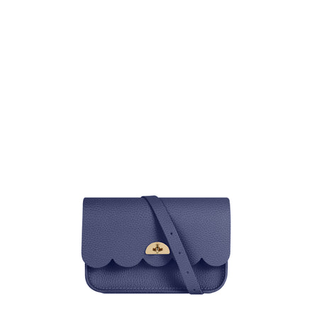 Small Cloud Bag in Leather - Italian Blue Celtic Grain | Cambridge Satchel