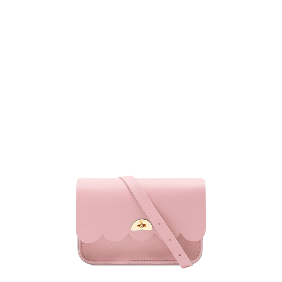 Small Pink Leather Clutch Bag for Women | Cross Body Cloud Bag