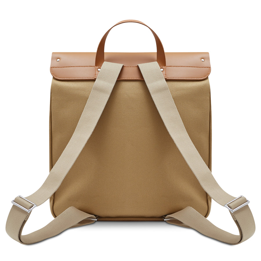 Canvas Steamer Backpack in Leather - Ochre & Tan Canvas