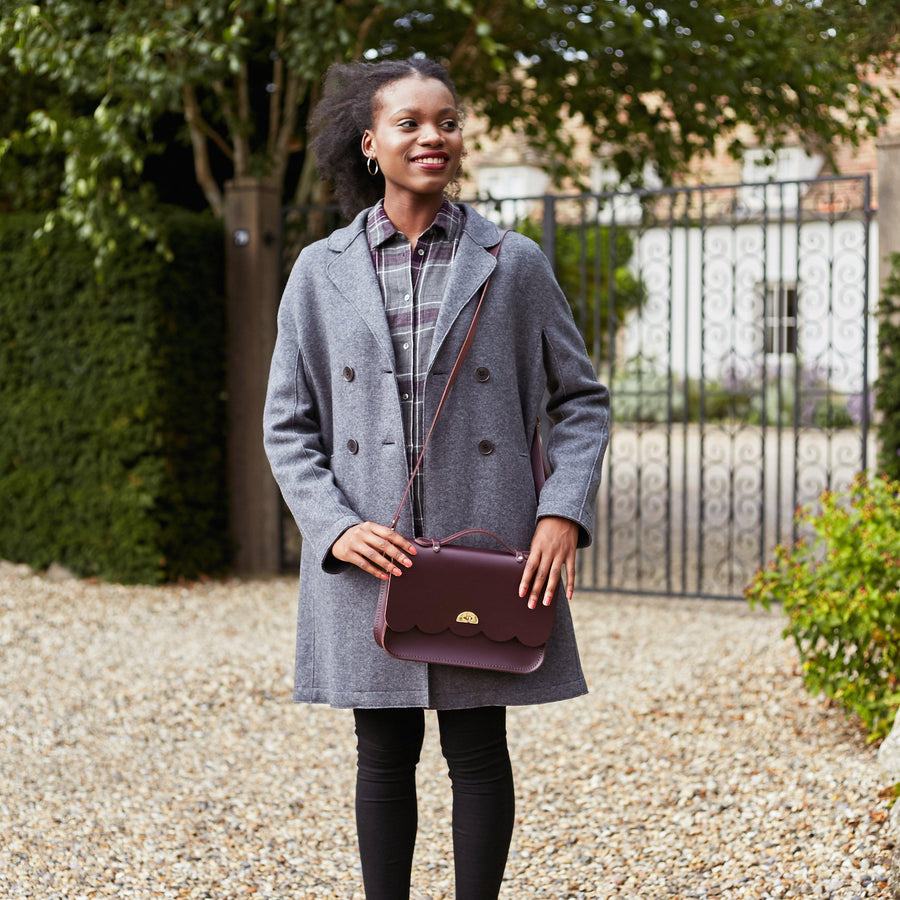 Womens | Cloud Bag with Handle in Leather - Oxblood | Cambridge Satchel