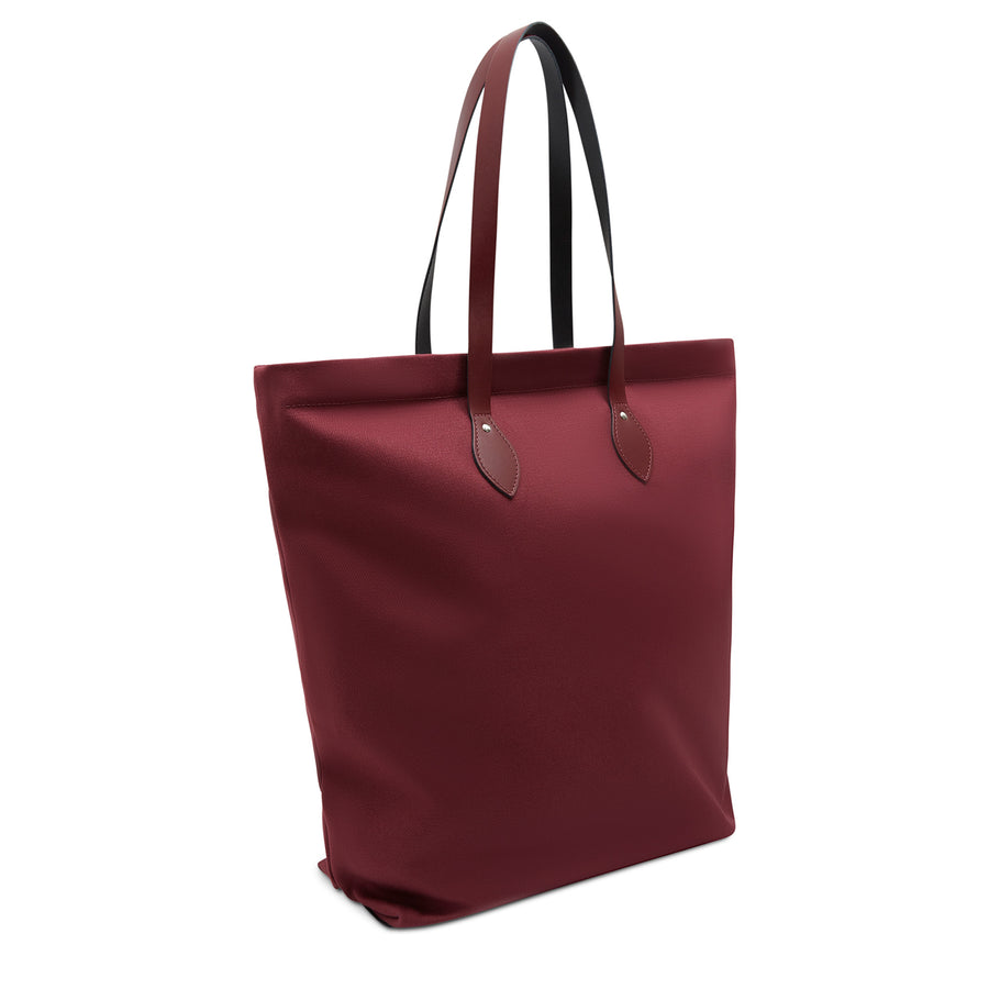 Large Canvas Tote - Oxblood Canvas & Oxblood Leather Trim