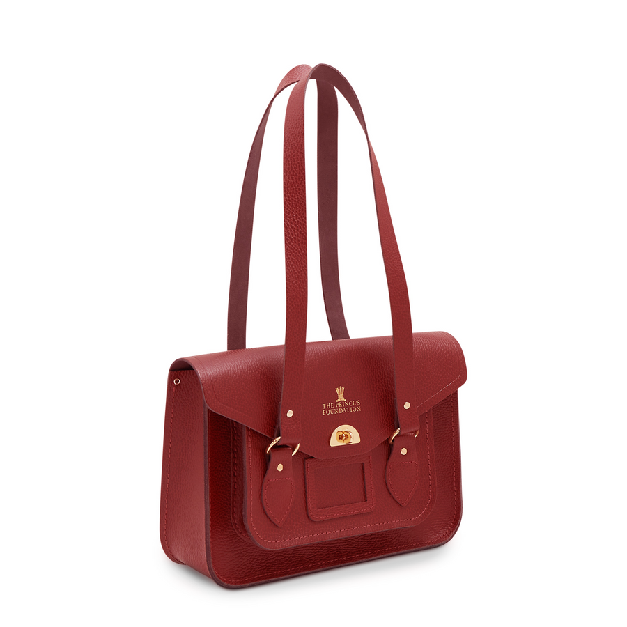 The Prince's Foundation Twist Lock Tote in Leather - Red Celtic Grain