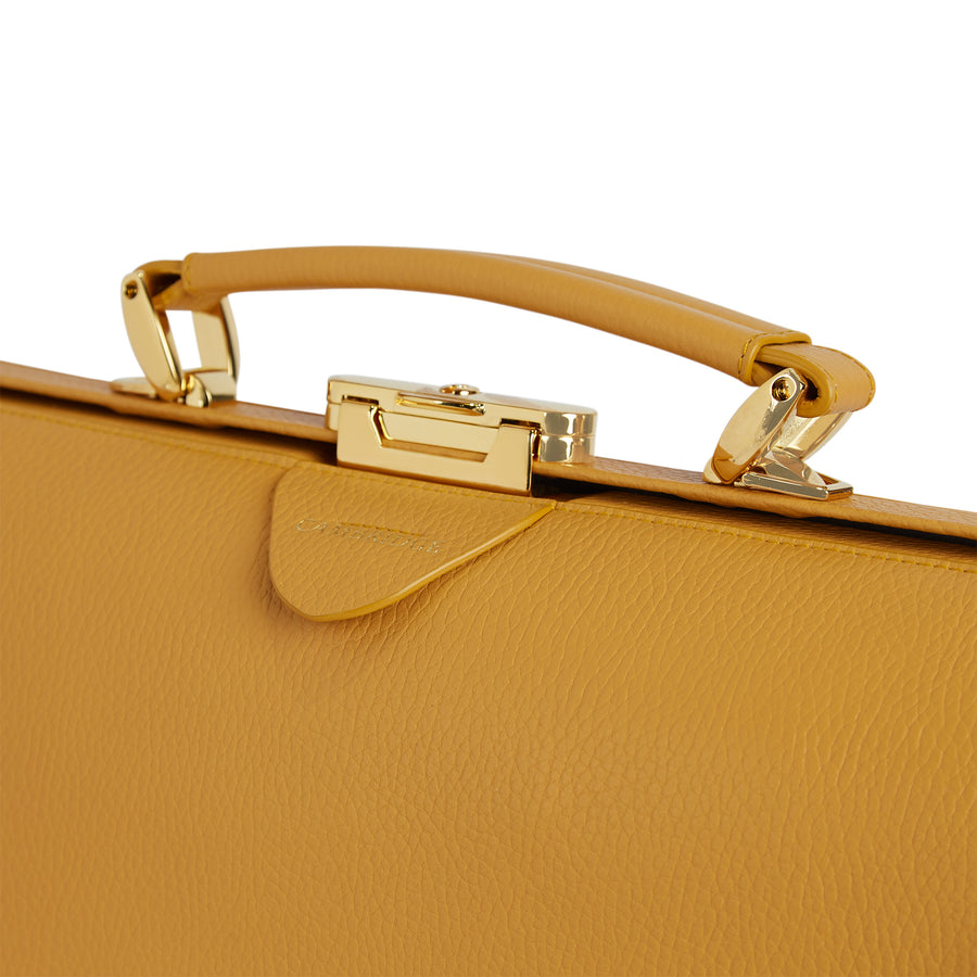 Golden Yellow Calf Grain Cambridge Satchel Leather Doctors Bag
