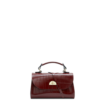 Mini Daisy Bag in Leather - Oxblood Patent Croc | Cambridge Satchel