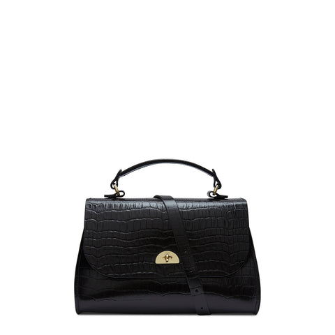 Daisy Bag in Leather - Black Patent Croc