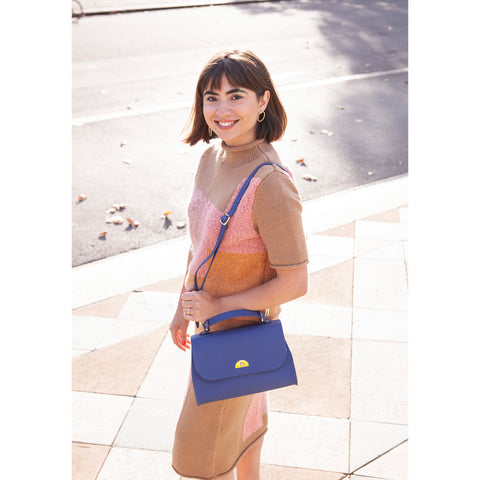 Womens | Daisy Bag in Leather - Italian Blue Matte | Cambridge Satchel