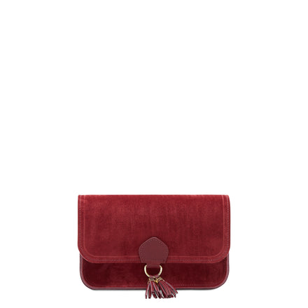 Garnet Suede Cambridge Satchel Women's Suede Clutch Evening Bag