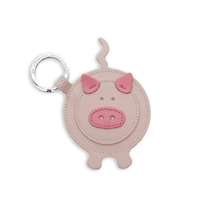 Year of the Pig Keyring Charm in Leather - Dusky Rose & Classic Pink