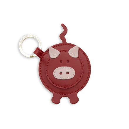 Year of the Pig Keyring Charm in Leather - Dusky Rose & Red