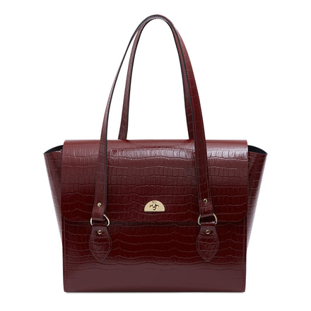 The Emily Tote & Laptop Bag - Oxblood Patent Croc | Women's Leather Tote