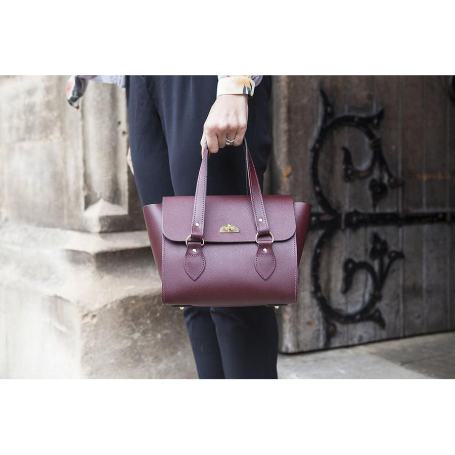 Womens - The Small Emily Tote - Oxblood Saffiano - Cambridge Satchel