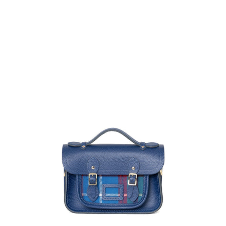 Magnetic Mini Satchel in Leather - Italian Blue Matte Celtic Grain with Edinburgh Tartan