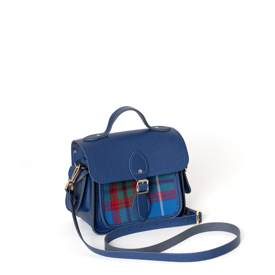 Traveller Bag with Side Pockets in Leather - Italian Blue Matte Celtic Grain with Edinburgh Tartan