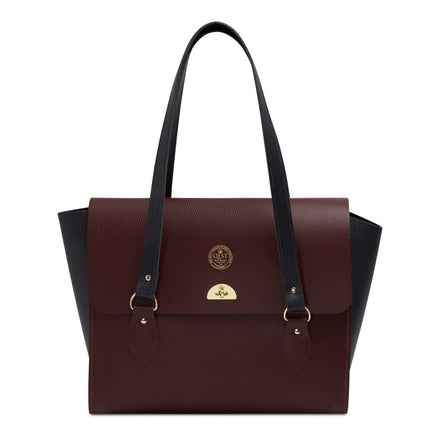 QEST The Emily Tote - Oxblood & Navy Celtic Grain | Cambridge Satchel Company