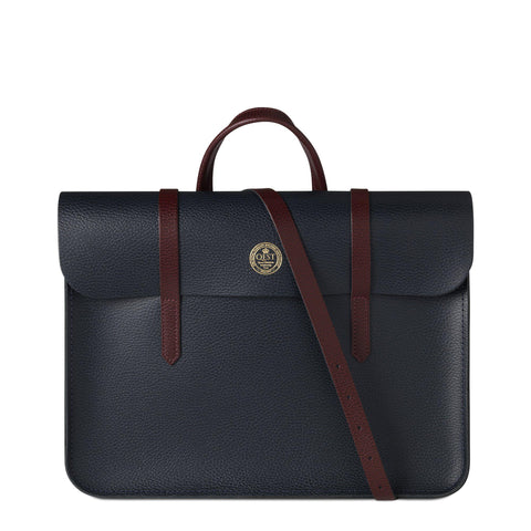 QEST Folio Bag in Grain Leather - Oxblood & Navy